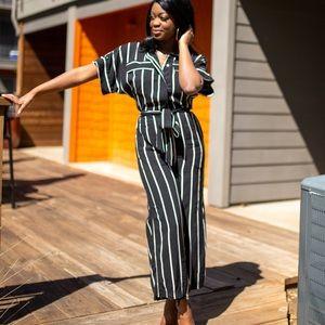 Black Striped H&M jumpsuit